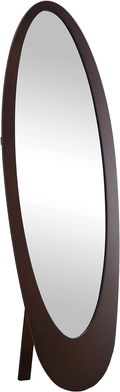 Monarch Specialties I 3360 Cappuccino Finish Oval Cheval Mirror, Brown