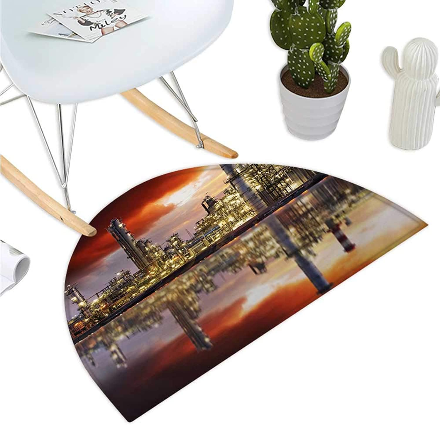 Industrial Half Round Door mats Oil Refinery Petrochemical Industry Water Reflection and Dramatic Sky Twilight Bathroom Mat H 47.2  xD 70.8  Multicolor