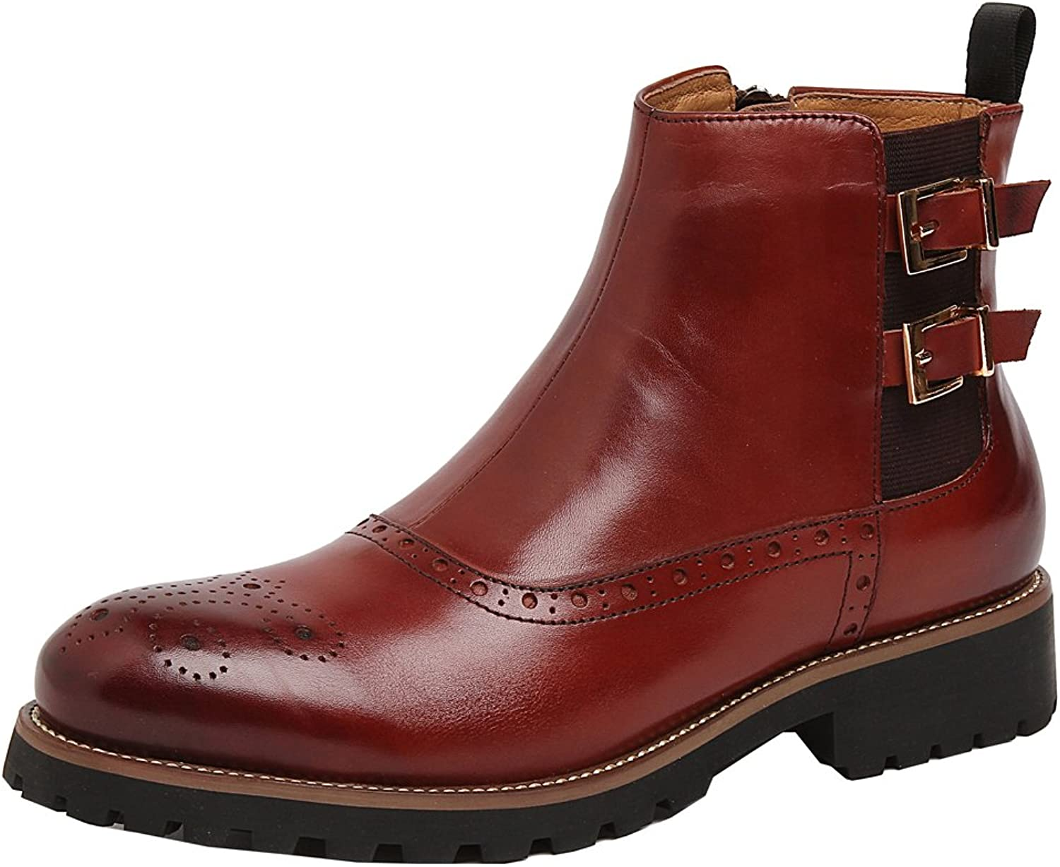 MedzRE Men's Leather Wingtip Formal Leisure Ankle High shoes