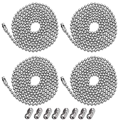 Beaded Pull Chain Extension,Each Chain Length 39 Inch (1 Meter) with Two Additional Matching Connectors,3.2 mm Diameter Beaded,Silvery,4 pack