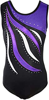yarnc Girls Gymnastics Leotards Sleeveless Training Dance Bodysuit Athletic Suits