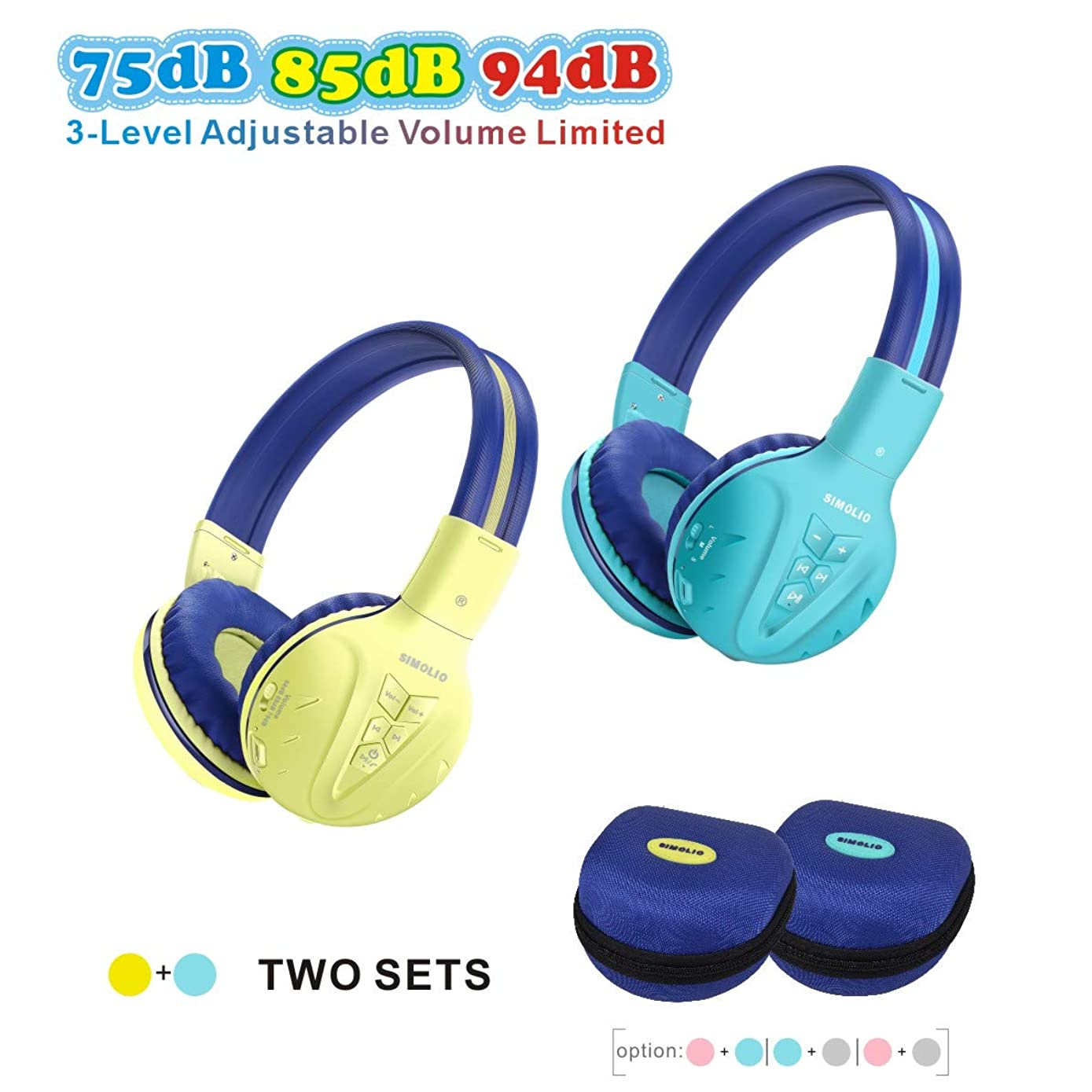 2 Pack of SIMOLIO Wireless Kids Headphone with Hard Case, Bluetooth Kids Friendly Headphone Volume Limited, Wireless Headphones for Girls,Boys,Over-Ear Kids Headphones for School,Travel(Mint,Yellow)