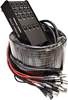 Studio PA DJ use SAJLP-12x4x50-12 Channel 50 Foot XLR Low Profile Snake Cable with 4 TRS Returns Stage Circuit Board Snake for Recording Seismic Audio