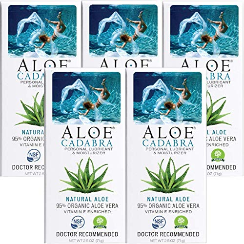 Aloe Cadabra Organic Vaginal Moisturizer - Best Natural Personal Lube - Looking for Relief of Dryness, Itching, Burning, Chafing, Painful Sex - Unscented, 2.5 Oz (Pack of 5)