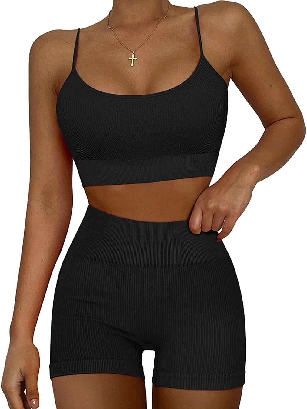 OYS Women's Workout Set 2 Piece Sports High order Fixed price for sale Seamless Bra High Strappy