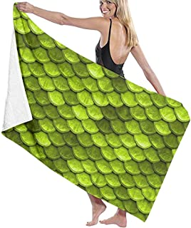 Lxhff Beach Towel Beach Towel Blanket-Quick Fast Dry Super Absorbent Lightweight Towel for Travel Pool Swimming Bath Camping Yoga Gym Sports Idea(Beautiful Lime Green Mermaid Fish Scales) 80X130cm