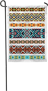 Semtomn Garden Flag Beading Tribal Beads Necklace African Ethnic Cross Squares Diamonds Chevrons Home Yard House Decor Barnner Outdoor Stand 12x18 Inches Flag