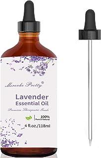 Mererke_Pretty Lavender Essential Oil (4 oz) w/Glass Dropper - 100% Pure & Natural Therapeutic Grade Aromatherapy Oil | Pr...