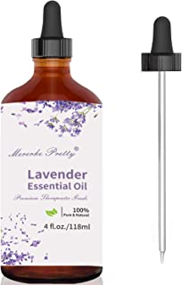 Mererke_Pretty Lavender Essential Oil (4 oz) w/Glass Dropper - 100% Pure & Natural Therapeutic Grade Aromatherapy Oil | Promote Peaceful Sleep, Relaxation, Tension Relief- For Diffuser & Topical Use