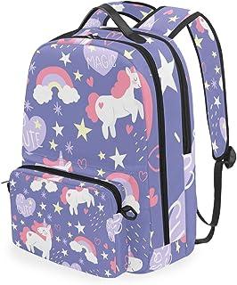 Susino Mochila Escolar para niñas y niños, Bolsa de Viaje Ajustable para Viajes, Senderismo, Camping, Ciclismo, Informal, para Adultos y niños, Light Purple Unicorn