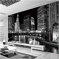 Xbwy 装飾壁画黒と白の都市夜の風景壁画壁紙リビングルームのベッドルームの背景壁の装飾壁画-120X100Cm