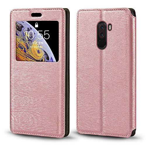 Xiaomi Pocophone F1 Caso, Madera Grain Cuero Funda con Titular de la Tarjeta y Ventana, Tapa Magnética Flip Cover para Xiaomi Pocophone F1 (Oro Rosa)