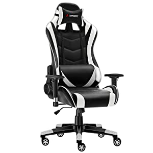 JL Comfurni Gaming Chair Chesterfield Ergonomic Swivel Office Chair High Back Heavy Duty Home Office Computer Desk Chair PU Leather Recliner Sport Racing Chair (Black&White-1)