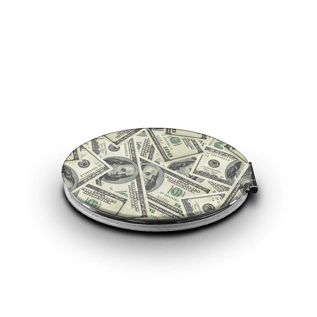 四面体虎利点携帯ミラー ドル お金 アメリカ ミニ化粧鏡 化粧鏡 3倍拡大鏡+等倍鏡 両面化粧鏡 楕円形 携帯型 折り畳み式 コンパクト鏡 外出に 持ち運び便利 超軽量 おしゃれ 9.0X6.6CM