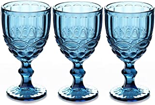 Wine Glasses Set of 3 Colored Water Goblets 10 OZ Wedding Party Red Wine Glass For Juice Drinking Embossed Design (Blue)