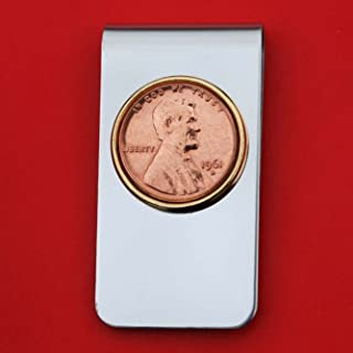 US 1961 Lincoln Small Cent BU Uncirculated Penny Coin Stainless Steel Gold Silver Two Tone Money Clip NEW - Lucky Penny
