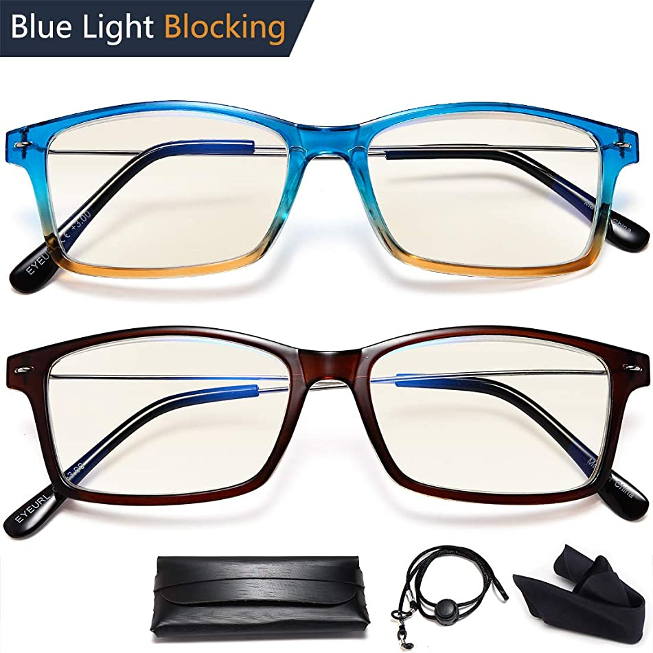 Reading Glasses Blue Light Blocking - 2 Pairs Rectangular Fashion Quality Readers for Men and Women +1.75