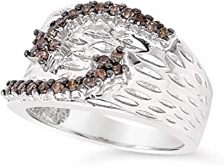 .925 Sterling Silver Chocolate Brown Diamond Rwide Band Bypass Cocktail Ring For Women 1/4 Carat
