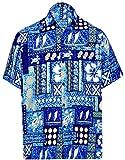 LA LEELA Casual Hawaiana Camisa para Hombre Señores Manga Corta Bolsillo Delantero Surf Palmeras Caballeros Playa Aloha L-(in cms):111-121 Azul_W226
