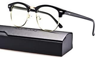 Merstoclo Blue Light Blocking Glasses, Semi Rimless Clear Lens, Anti Eyestrain UV Filter Lens Lightweight Frame, Men/Women (Black Frame/Gold Edge)