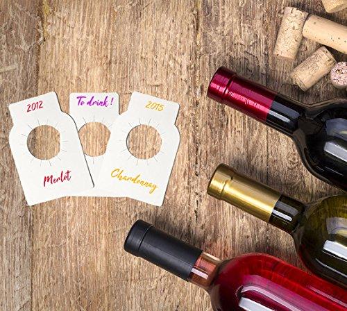 Home Optimal Etiketten für Flaschenhals, blanko, 100 Stück