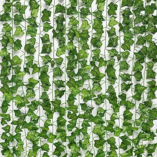 WAYAMY 12 Pcs Planta Artificial Colgante, 12x2.2m Artificial Hiedra Guirnalda Plantas Plantas Artificial Decoración Hojas de Follaje Falsas Planta de Vid Colgante para el Hogar, Boda, Jardín, Valla Escalera Ventana, Pared Interior y Exterior Habitacion Guirnalda Decoración