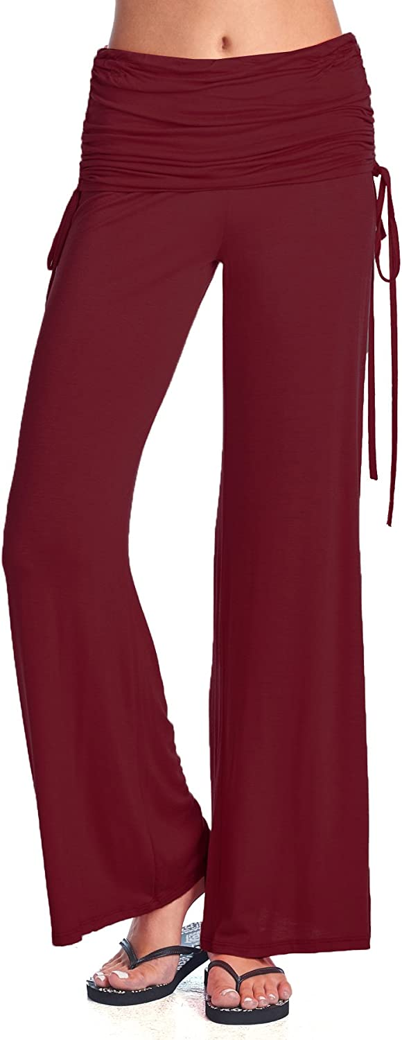 Beachcoco Women's Fold Over Ruched Wide Leg Pants