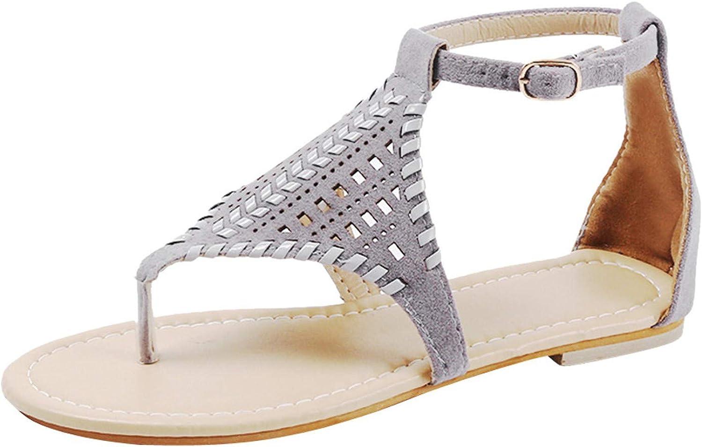 Summer Flat Sandal Summer Thong Sandal for Women, Ankle Strap Elastic Walking Beach Flat Shoes Sandal