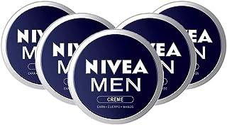 NIVEA MEN Creme en pack de 5 (5 x 150 ml) crema para hombres crema para cara cuerpo y manos crema multiusos hidratante...