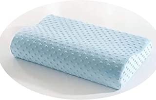 Cherryi Bubble Flannel Memory Pillow Neck Protection Slow Rebound Memory Foam Pillow Cervical,Light Blue,55cm x 35cm