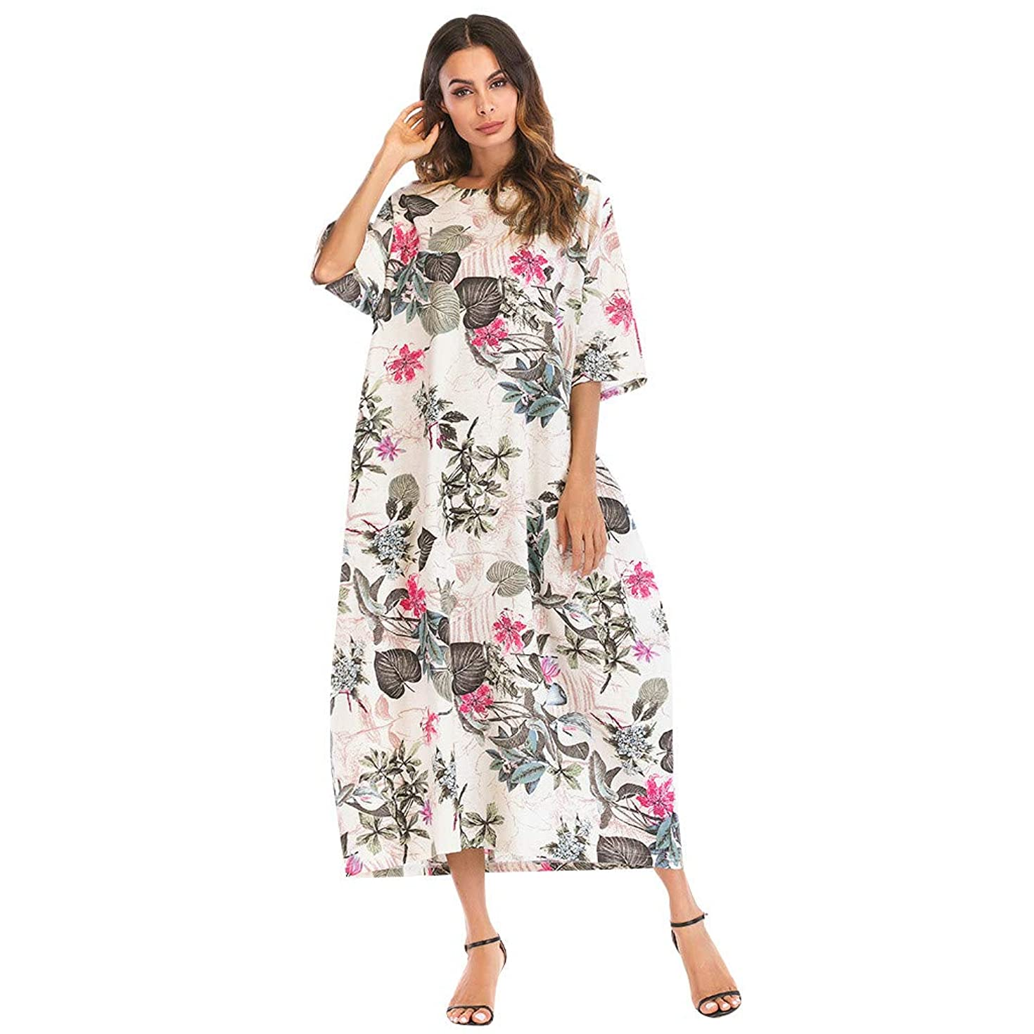 Women Boho Cotton Linen Dress Printed O-Neck Half Sleeve Loose Long Plus Size Dress