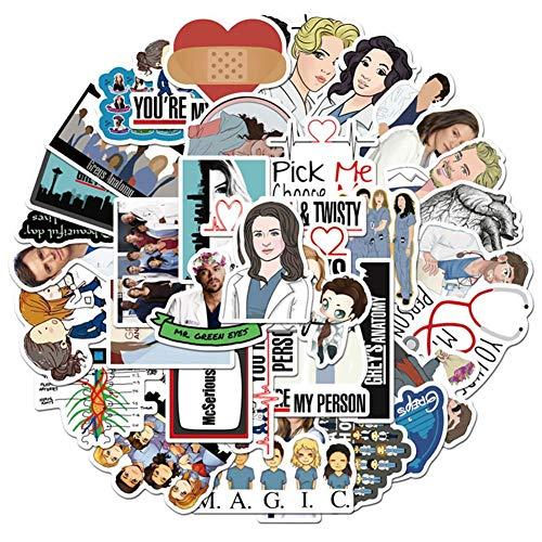 Xindian Grey's Anatomy Aufkleber-Set, 50 Stück, TV-Show, kreative DIY-Aufkleber, lustig, dekorativ, Cartoon, für Gepäck, Computer, Notebook, Telefon, Zuhause, Fenster, Snowboard