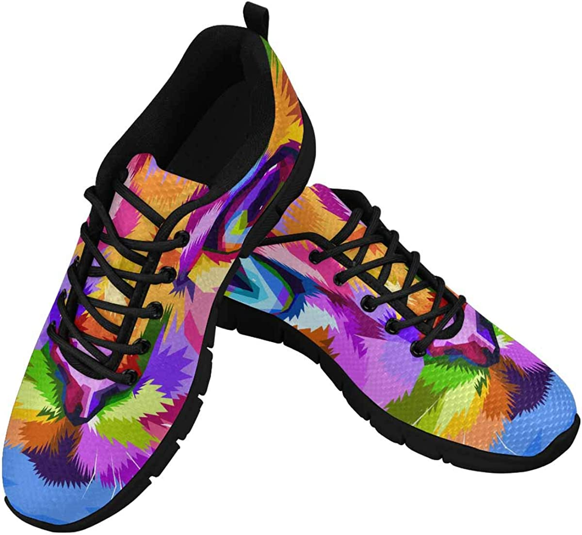INTERESTPRINT Cat Face Close to Colorful Eyes Women's Athletic Mesh Breathable Casual Sneakers