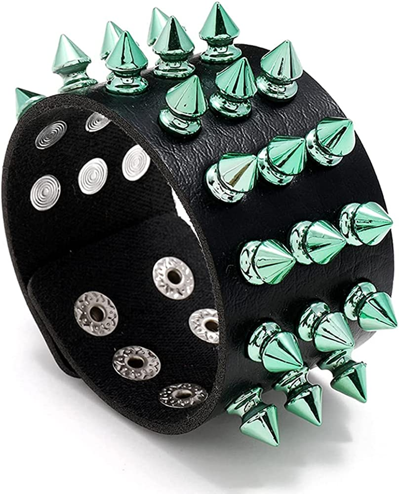 INMOFN Punk Bracelet for Men Women, Black Leather Color Spike Rivet Cuff Bangle Studded Wide Wristband Spike Bracelet