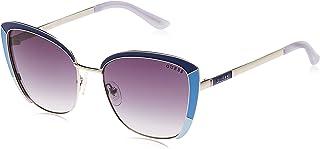 Guess Women's Sunglasses GU758592B55 - Blue/Gradient Smoke Metal
