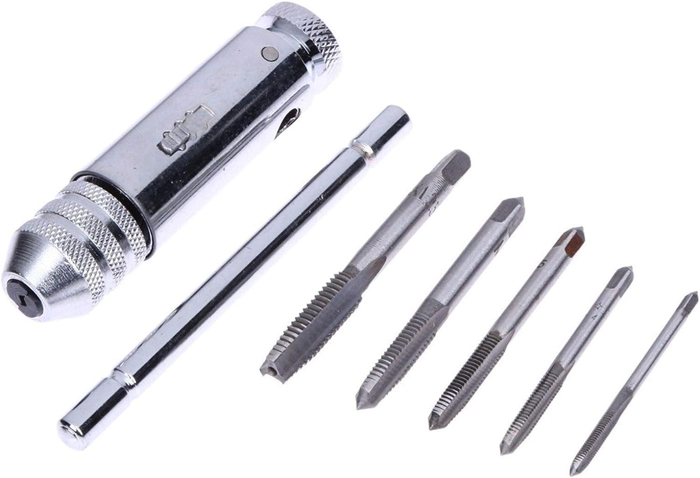 Llave con mango de trinquete 5pcs conjunto de trinquete de la llave del grifo herramientas del mec/ánico ajustables M3-M8 sistema de herramienta mec/ánico con tap/ón roscado Adecuado para reparar auto