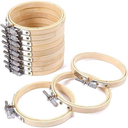 Bestlymood Lot de 6 cerceaux /à broder ronds en bambou 10,2 cm