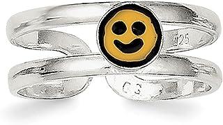 Lex & Lu Sterling Silver Yellow & Black Enameled Smiley Toe Ring