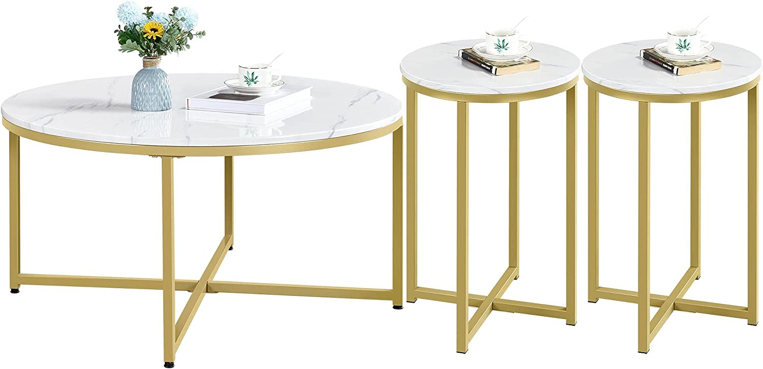 Yaheetech Round Free Shipping Cheap Bargain Gift Coffee Table Colorado Springs Mall 2pcs Tabl Room Side Living