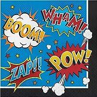 クラブパック 192枚 ホワイトとレッド 2層 スーパーヒーロー スローガン 正方形 ランチョンナプキン 12.8インチ