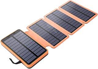 2 USB Ports Solar Charger, Foldable Waterproof Outdoor Solar Battery Charger Compatible for Cell Phone and USB Electronic Devices