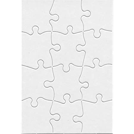 Hygloss Products, Inc Blank Decorating Kids Art Activity, Use This Jigsaw As Party Favors, DIY Invites and More - White, Sturdy – 5.5 x 8 Inches, 12 Pieces, 8 Puzzles with Envelopes, Count