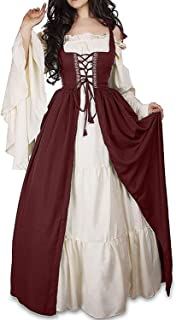 Abaowedding Womens's Medieval Renaissance Costume Cosplay Chemise and Over Dress