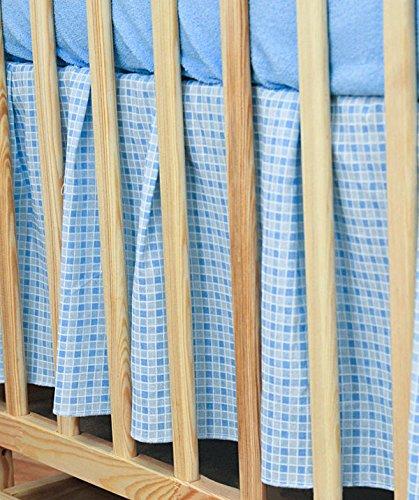 Volant für Babybett, Rüschen, für Babybett, 140 x 70 cm, Blau kariert