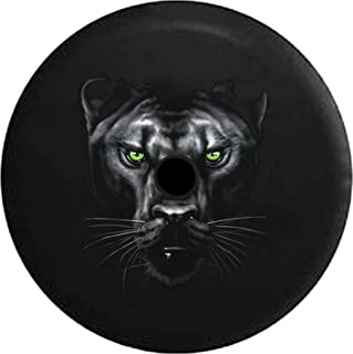 Pike Outdoors JL Series Spare Tire Cover Backup Camera Hole Majestic Black Panther Vibrant Eyes Black 33 in