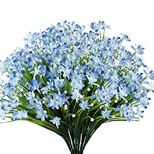 URSTOUD 6 Bundles Artificial Daffodils Flowers, Fake Artificial Greenery UV Resistant No Fade Faux Plastic Plants for Wedding Bridle Bouquet Indoor Outdoor Home Garden Kitchen Office Table Vase (Blue)