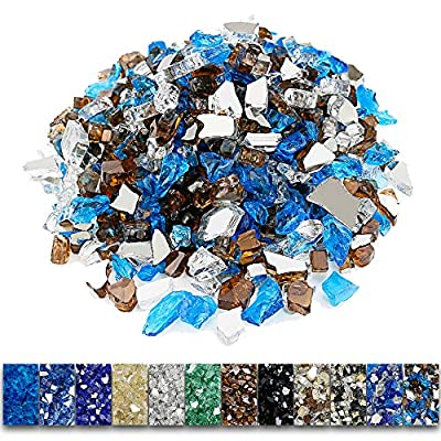 Grisun Fire Glass for Fire Pit, 1/2 Inch 9.5 Pounds High Luster Reflective Tempered Glass Rocks for Natural or Propane Fireplace, Safe for Outdoors and Indoors Firepit Glass