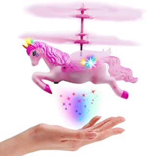 Flying Helicopter Unicorn Toys Gifts for 5 6 7 8 - 12 Year Old Girls, Pink Mini RC and Hand Control Flight Helicopter Unicorn Fairy Tale Doll Birthday Christmas Party Supplies