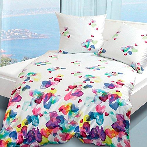 Janine Design Mako-Satin Bettwäsche modern Art 4136-09 Multicolor 1 Bettbezug 155 x 220 cm + 1 Kissenbezug 80 x 80 cm