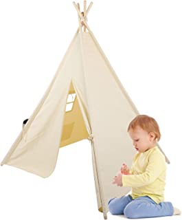 Greensen Lektält för barn, naturlig bomullsduk barn indiskt tipi-tält, 4 poler lekstuga leksak för inomhus och utomhus, bä...